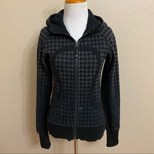 Lululemon scuba hoodie houndstooth sweater grey